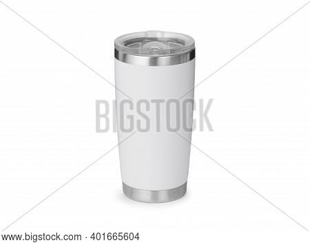 White Steel Tumbler Mockup Isolated On White Background With Clipping Path.