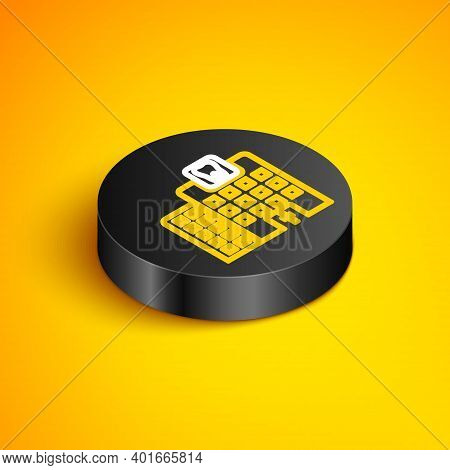 Isometric Line Dental Clinic Icon Isolated On Yellow Background. Dentistry Center Symbol. Black Circ