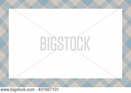 Vintage Frame Vector. Scottish Border Pattern Retro Style. Beauty Empty Background, Template For Pho