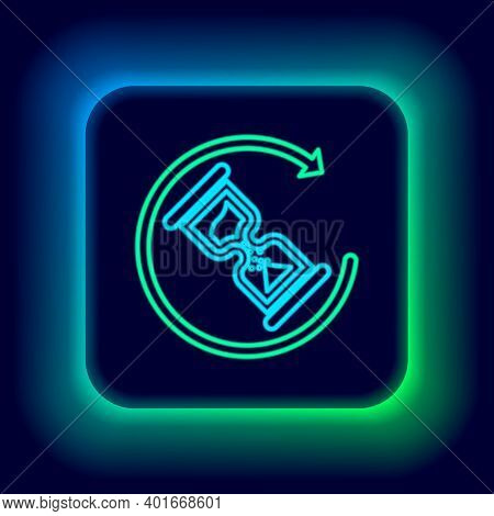 Glowing Neon Line Waiting Icon Isolated On Black Background. Wait Time Icon. Hourglass Clock. Colorf