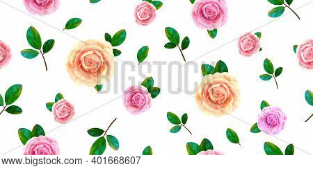Floral Seamless Pattern With Blooming Pink And Yellow Rose Flowers, Green Leaves On White Background