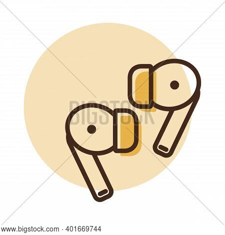 Pair Of Wireless Earbud Headphones Vector Icon. Graph Symbol For Music And Sound Web Site And Apps D