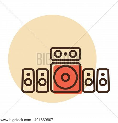 5.1 Surround Sound System Vector Icon. Graph Symbol For Music And Sound Web Site And Apps Design, Lo
