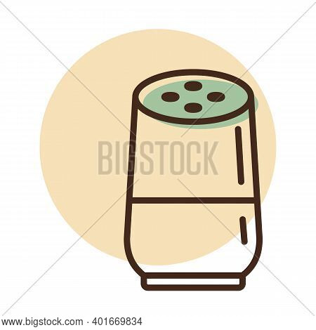Smart Home Speaker With Digital, Virtual Assistant Vector Icon. Graph Symbol For Music And Sound Web