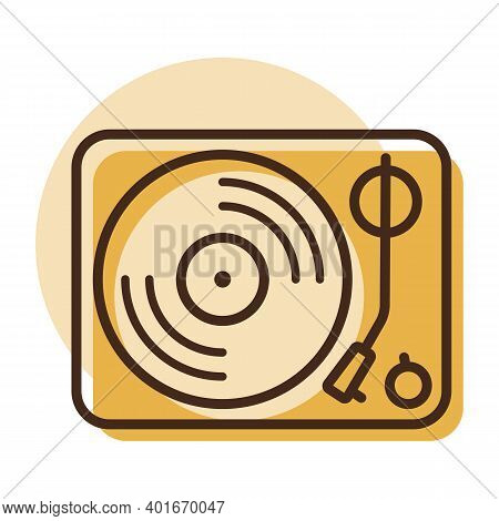 Vinyl Record Player Vector Flat Icon. Music Sign. Graph Symbol For Music And Sound Web Site And Apps