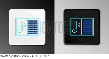 Line Music Book With Note Icon Isolated On Grey Background. Music Sheet With Note Stave. Notebook Fo