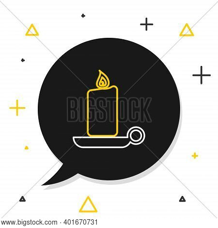 Line Burning Candle In Candlestick Icon Isolated On White Background. Old Fashioned Lit Candle. Cyli