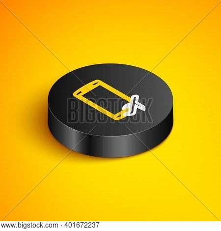 Isometric Line Flight Mode In The Mobile Phone Icon Isolated On Yellow Background. Airplane Or Aerop