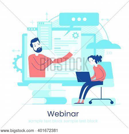 Online Learning Concept. Internet Classes. Online Learning Metaphors. Educational Webinar. Online Te