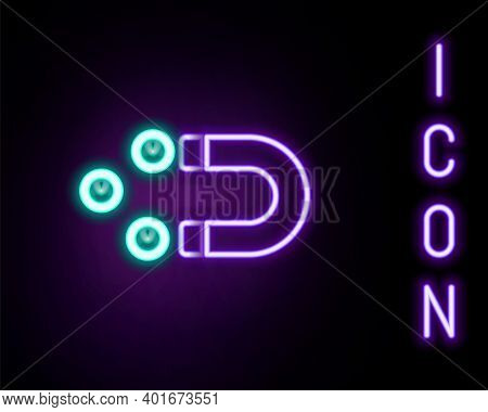 Glowing Neon Line Customer Attracting Icon Isolated On Black Background. Customer Retention, Support