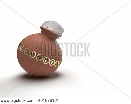 Pongal Pot With Tamil Typography 3d Render