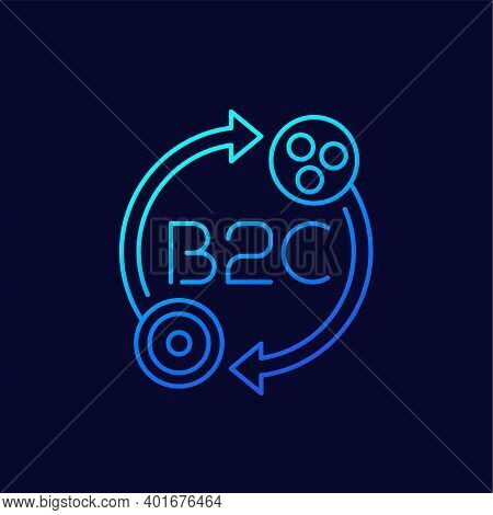 B2c, Business To Consumer, Thin Line Icon