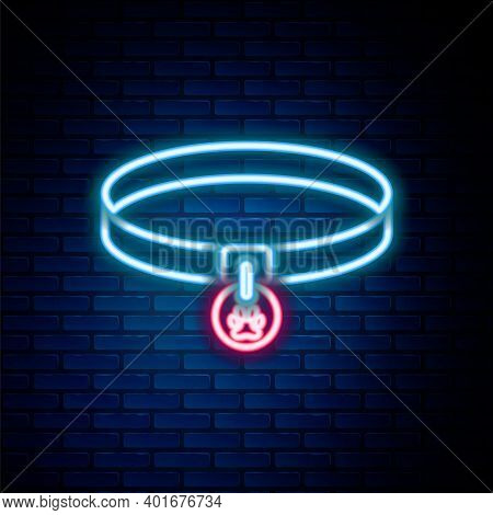 Glowing Neon Line Collar With Name Tag Icon Isolated On Brick Wall Background. Supplies For Domestic