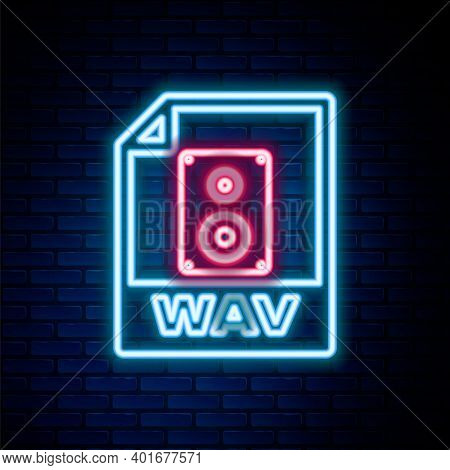 Glowing Neon Line Wav File Document. Download Wav Button Icon Isolated On Brick Wall Background. Wav