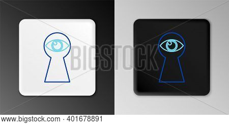 Line Keyhole With Eye Icon Isolated On Grey Background. The Eye Looks Into The Keyhole. Keyhole Eye