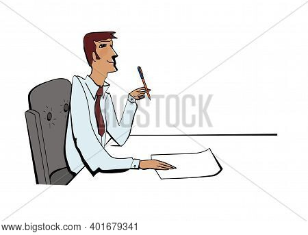 Man In An Armchair At A Work Table Looks Up Dreamily. Write A Statement. Office Routine. Isolated On