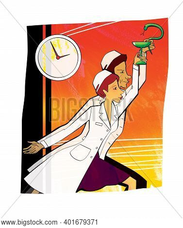 Pharmacy Workers Man And Woman With Symbols Of A Snake And Bowls In Their Hands. Labor Impulse And H