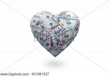 Heart Shaped Made With 100 Dollar Banknotes Isolated On White. Happy Valentines Day Symbol. Love Mon