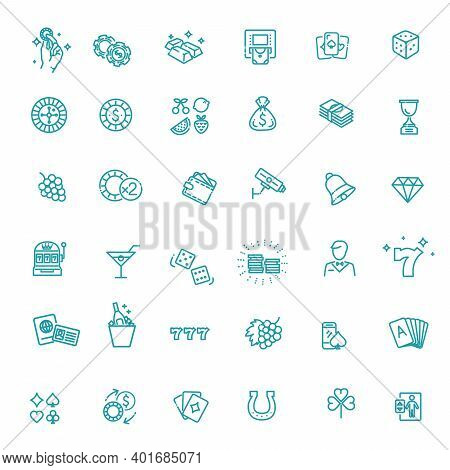Casino Related Vector Icon Set. Ector Line Icons.