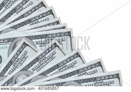 100 Us Dollars Bills Lies Isolated On White Background With Copy Space Stacked In Fan Close Up