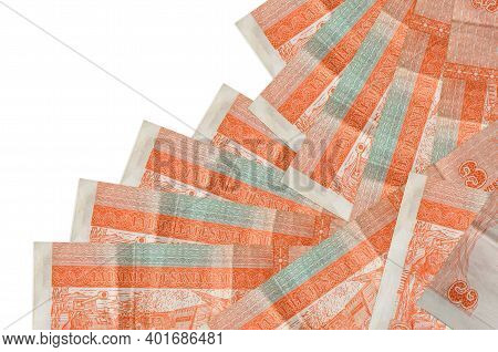 3 Cuban Pesos Convertibles Bills Lies In Different Order Isolated On White. Local Banking Or Money M