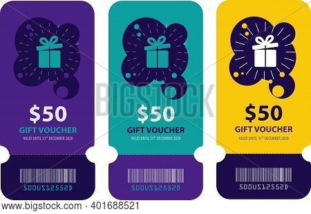 Colorful Gift Voucher Sets. Fifty Dollar Gift Voucher Illustration, Gift Card Template With Gift Ico