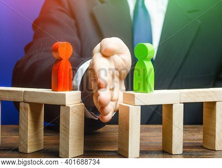 The Man Separates The Disputes With His Palm. Mediation And Arbitration Services. Ending An Acute Co