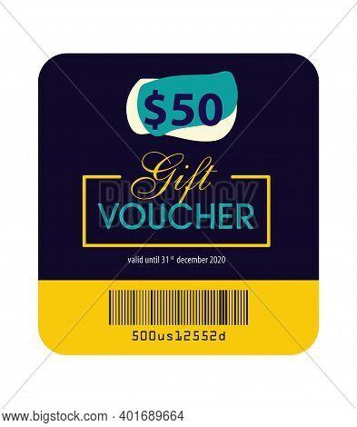 Gift Voucher Vector Illustration, Gift Voucher Template, Gift Card, Fifty Dollar, Colorful, Design E