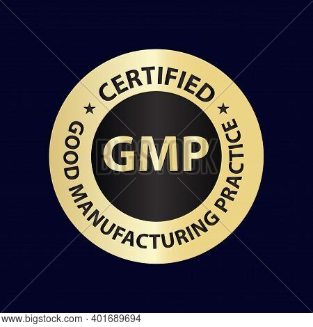 Good Manufacturing Practice (gmp) Golden Vector Icon Isolated On Dark Background
