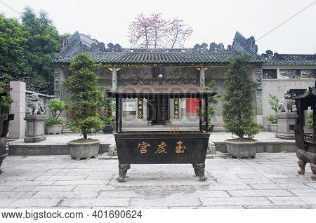 Guangzhou, China. March 18, 2017. An Incesnse Burner Within The The Pak Tai, Yuk Hai Temple In Guang
