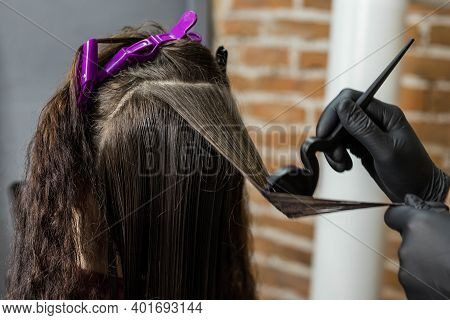 The Barber Stylist Applies Paint To The Client's Hair With A Brush. Brunette Doing Hair Colouring At