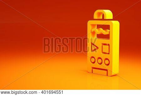 Yellow Dictaphone Icon Isolated On Orange Background. Voice Recorder. Minimalism Concept. 3d Illustr