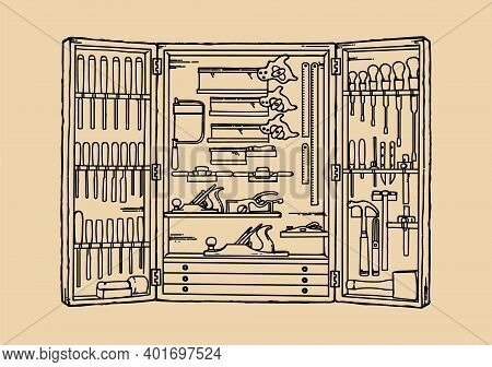 Carpentry Tools Hanging On Wall In Wood Workshop Vector Illustration. Woodwork Cabinet Shelf On Wall