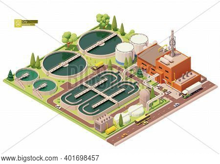 Vector Low Poly Water Or Sewage Treatment Plant Infrastructure. Water Or Wastewater Cleaning Plant.