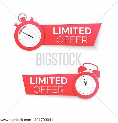 Stopwatch And Alarm Clock With Special Offer. Limited Time Offer Banner. Big Sale Discount. Vector