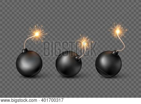 Set Of Bombs. Burning Fuse Black Bomb In Realistic Style. Vector Illustration Isolated On Transparen