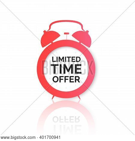 Alarm Clock With Special Offer On Dial. Limited Time Offer Banner. Big Sale Discount. Vector Illustr