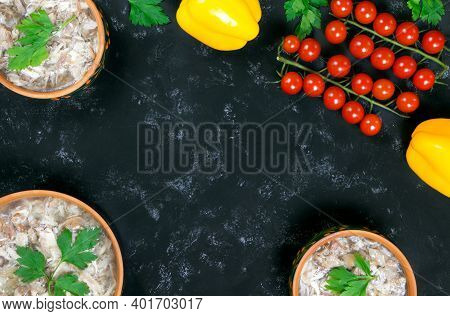 Headcheese And Fresh Vegetables.the National Dish Of Russian, Ukraine And Belarus. .jelly. Tomatoes