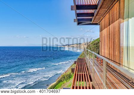 Mountain Home Overlooking Scenic Ocean View And Blue Sky In San Diego California