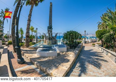 Benidorm, Alicante, Spain - August 13, 2020: Fragment Of The Monument To The Rescuer, Located In On