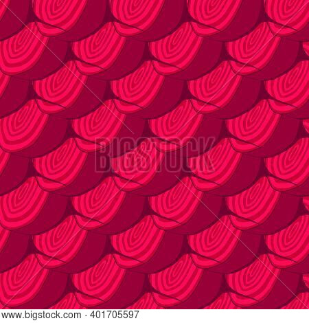 Illustration On Theme Of Bright Pattern Sugar Beet, Vegetable Root For Seal. Vegetable Pattern Consi