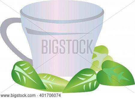 Mug For Tea With Mint Leaves Vector Illustration.