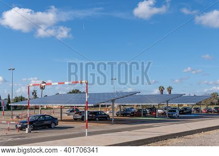 Campos, Spain; January 03 2020: Parking Lot Of The Sports Complex In The Town Of Campos, With Solar