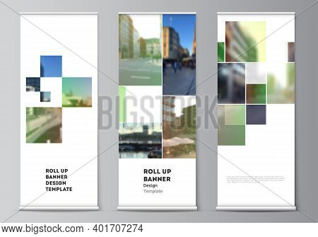 Vector Layout Of Roll Up Mockup Design Templates For Vertical Flyers, Flags Design Templates, Banner