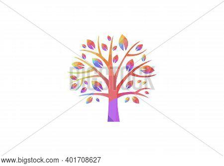 Abstract Tree Logo. Tree Icon Logo. Teamwork People Tree Logo Vector