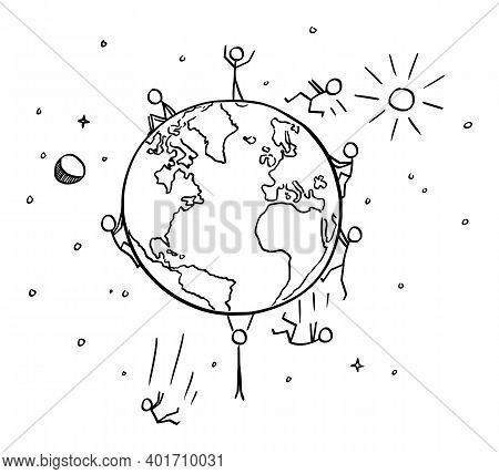 Vector Cartoon Stick Figure Illustration Of People Falling From Spherical Planet Earth. Flat Earth C
