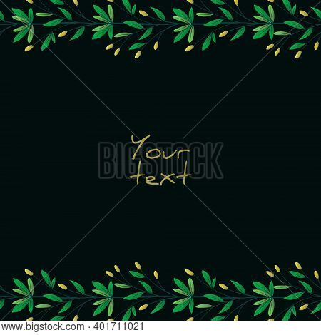 Background With Spring Twigs; Foliate Borders On Black Background For Greeting Cards, Invitations, P