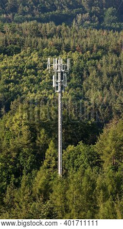 Telecommunication Tower From With Gsm Network Antennas