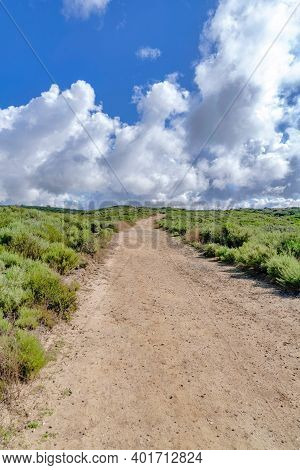 Unpaved Pathway Road Against Clouds And Blue Sky In Crystal Cove State Park Ca