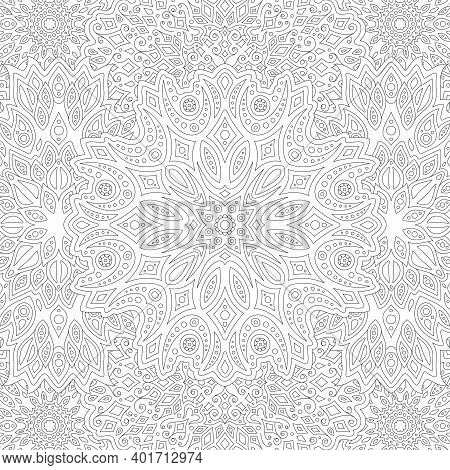 Beautiful Square Illustration For Adult Coloring Book With Black Abstract Linear Eastern Pattern